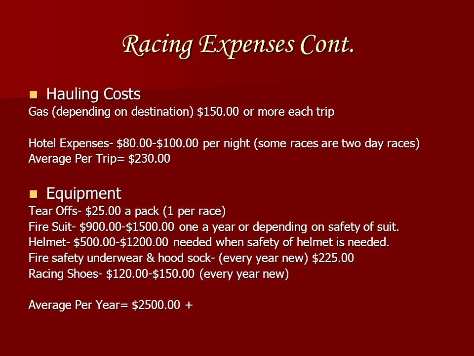 Racing Expenses Cont.