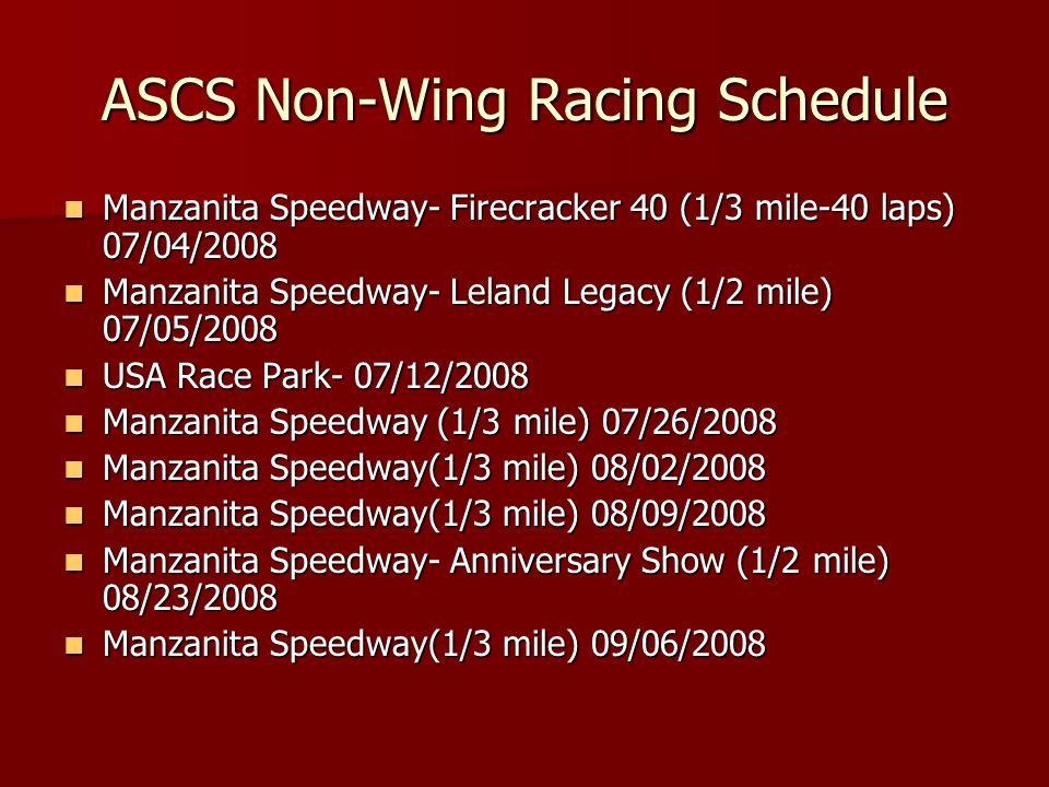 ASCS Non-Wing Racing Schedule Manzanita Speedway- Firecracker 40 (1/3 mile-40 laps) 07/04/2008 Manzanita Speedway- Firecracker 40 (1/3 mile-40 laps) 0