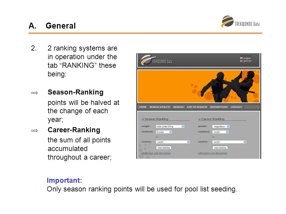 2.2 ranking systems are in operation under the tab RANKING these being: Season-Ranking points will be halved at the change of each year; Career-Ranking the sum of all points accumulated throughout a career; A.