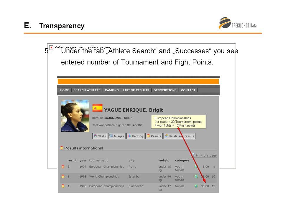 5.Under the tab Athlete Search and Successes you see entered number of Tournament and Fight Points.