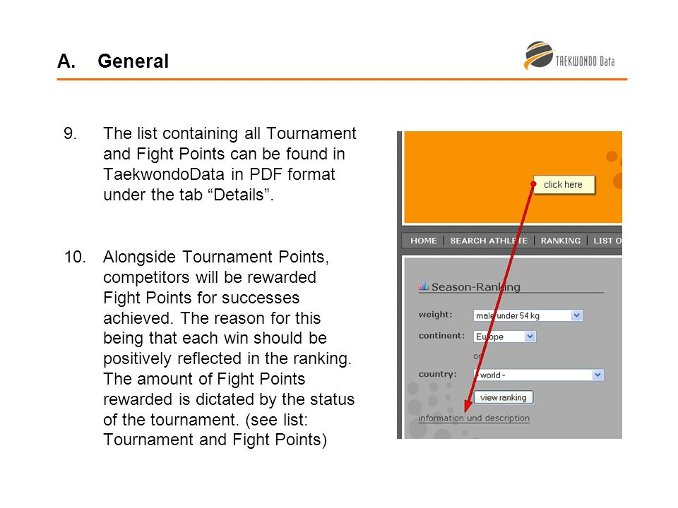 9.The list containing all Tournament and Fight Points can be found in TaekwondoData in PDF format under the tab Details.