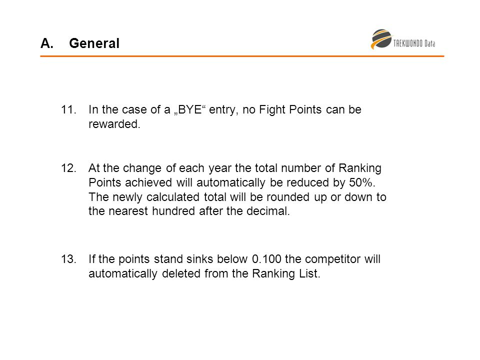 11.In the case of a BYE entry, no Fight Points can be rewarded.