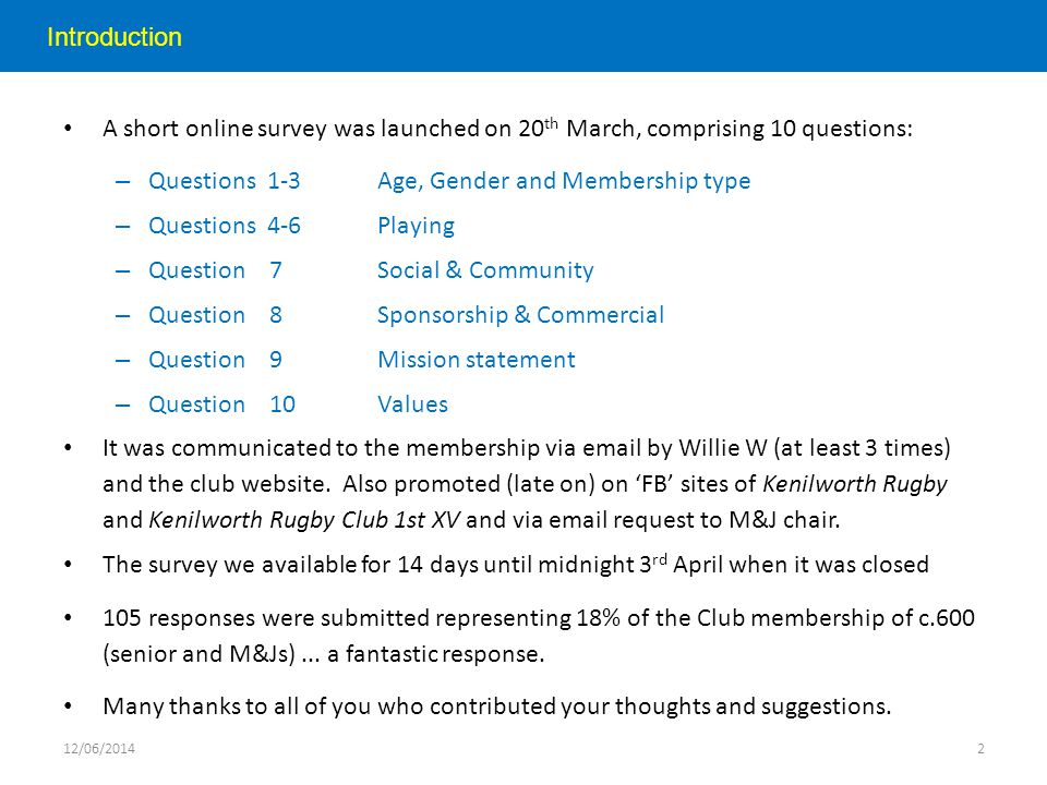 Introduction A short online survey was launched on 20 th March, comprising 10 questions: – Questions 1-3Age, Gender and Membership type – Questions 4-6Playing – Question 7Social & Community – Question 8Sponsorship & Commercial – Question 9Mission statement – Question 10Values It was communicated to the membership via email by Willie W (at least 3 times) and the club website.
