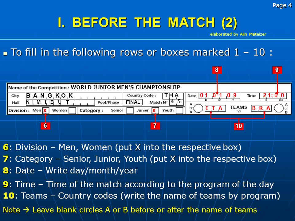 Page 3 I. BEFORE THE MATCH (1) To fill in the following rows or boxes marked 1 – 10 : To fill in the following rows or boxes marked 1 – 10 : WORLD JUN