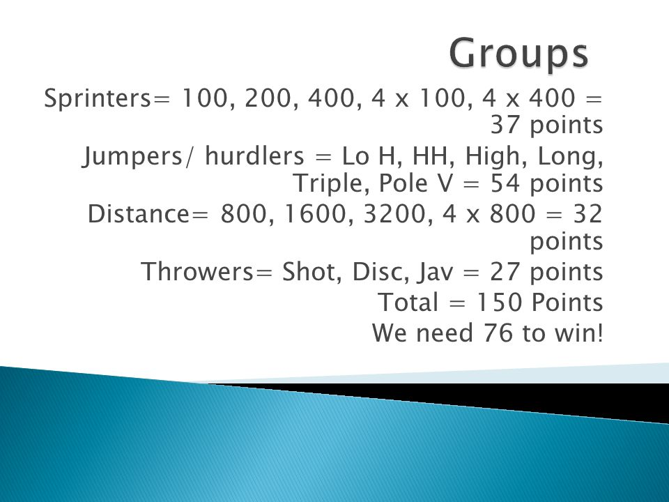 Sprinters= 100, 200, 400, 4 x 100, 4 x 400 = 37 points Jumpers/ hurdlers = Lo H, HH, High, Long, Triple, Pole V = 54 points Distance= 800, 1600, 3200,