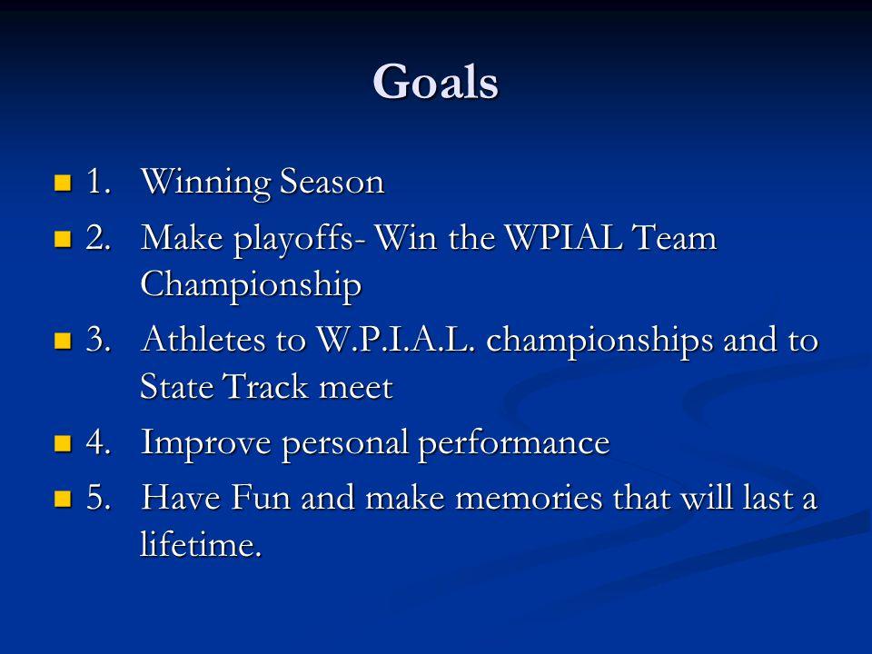 Goals 1. Winning Season 1. Winning Season 2. Make playoffs- Win the WPIAL Team Championship 2.