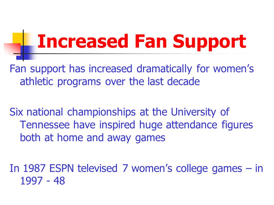 Increased Fan Support Fan support has increased dramatically for womens athletic programs over the last decade Six national championships at the Unive