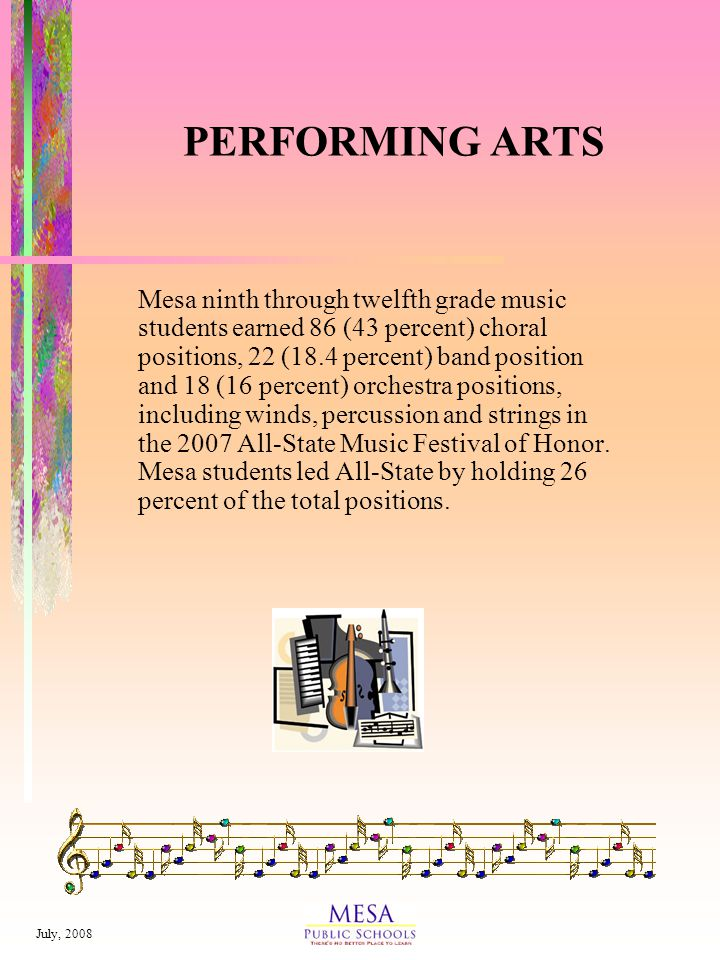 July, 2008 PERFORMING ARTS Mesa ninth through twelfth grade music students earned 86 (43 percent) choral positions, 22 (18.4 percent) band position and 18 (16 percent) orchestra positions, including winds, percussion and strings in the 2007 All-State Music Festival of Honor.