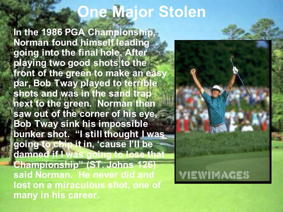One Major Stolen In the 1986 PGA Championship, Norman found himself leading going into the final hole.