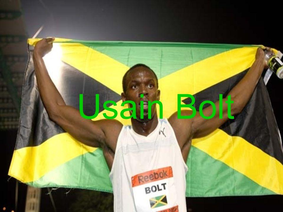 Usain Bolt winning 100 meters in Beijing Olympics