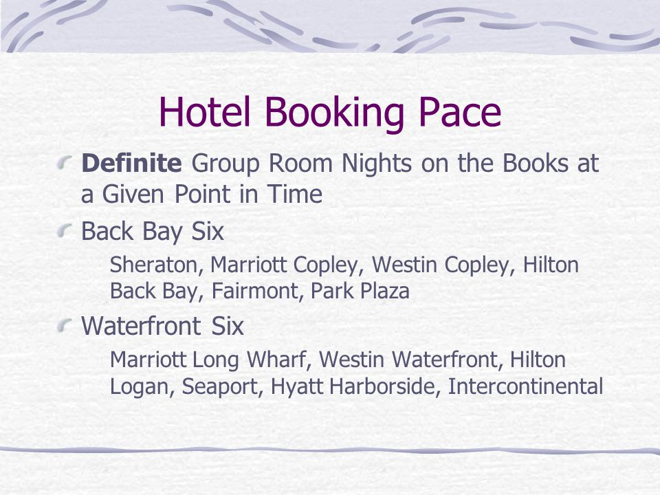Definite Group Room Nights on the Books at a Given Point in Time Back Bay Six Sheraton, Marriott Copley, Westin Copley, Hilton Back Bay, Fairmont, Par