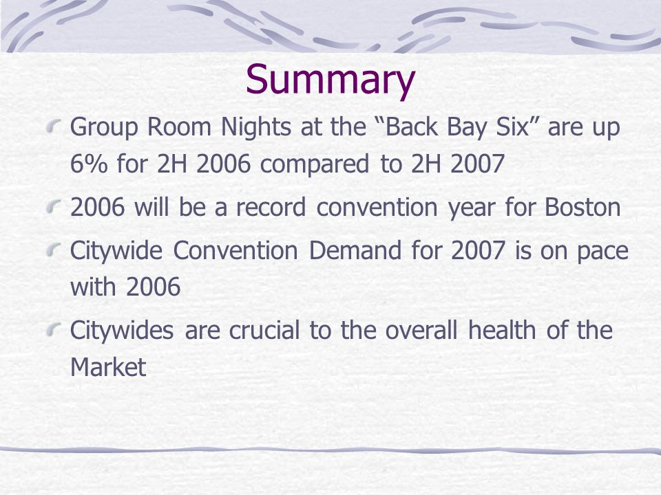Summary Group Room Nights at the Back Bay Six are up 6% for 2H 2006 compared to 2H 2007 2006 will be a record convention year for Boston Citywide Conv