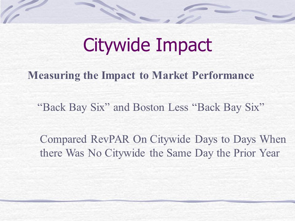 Citywide Impact Measuring the Impact to Market Performance Back Bay Six and Boston Less Back Bay Six Compared RevPAR On Citywide Days to Days When the