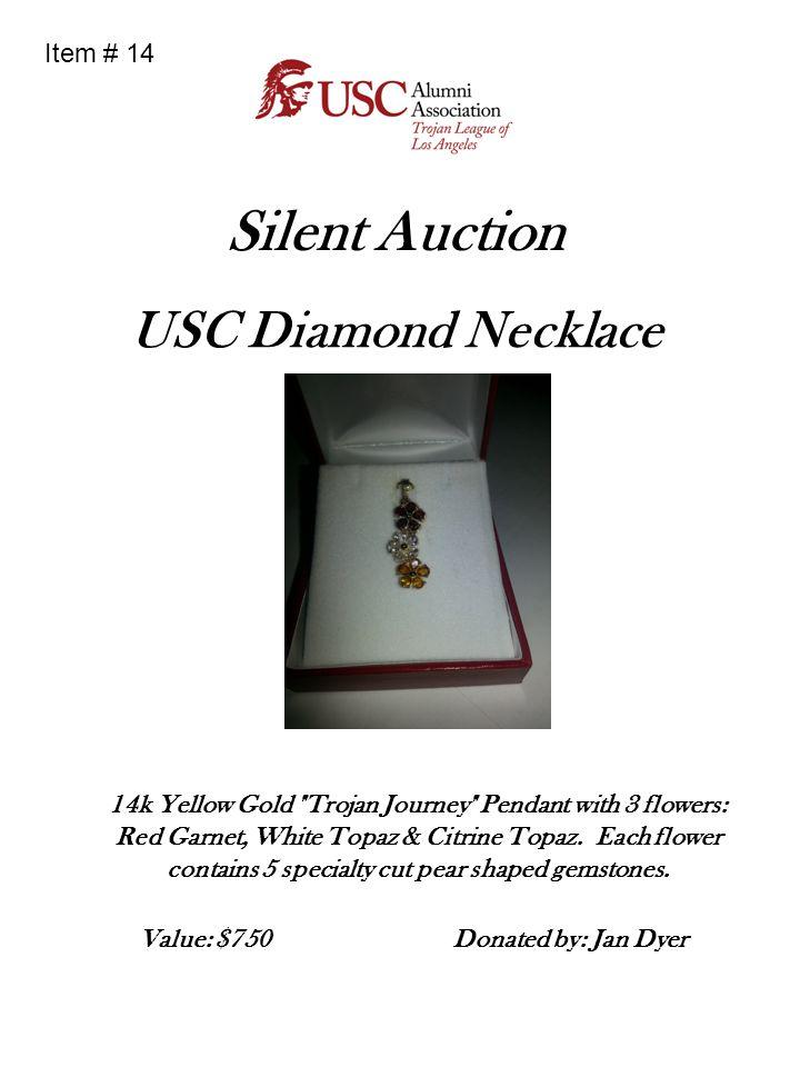 Silent Auction USC Diamond Necklace 14k Yellow Gold