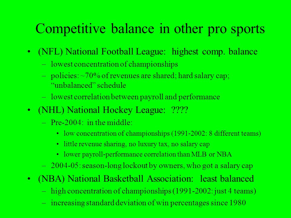Competitive balance in other pro sports (NFL) National Football League: highest comp. balance –lowest concentration of championships –policies: ~70% o