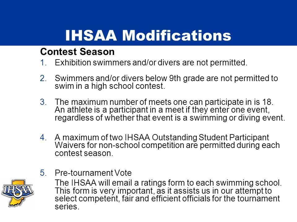 IHSAA Information Tournament Series 2008-09 Girls Tournament Series Sectionals – February 5, February 7, 2009 Diving Regionals – February 10, 2009 Sta