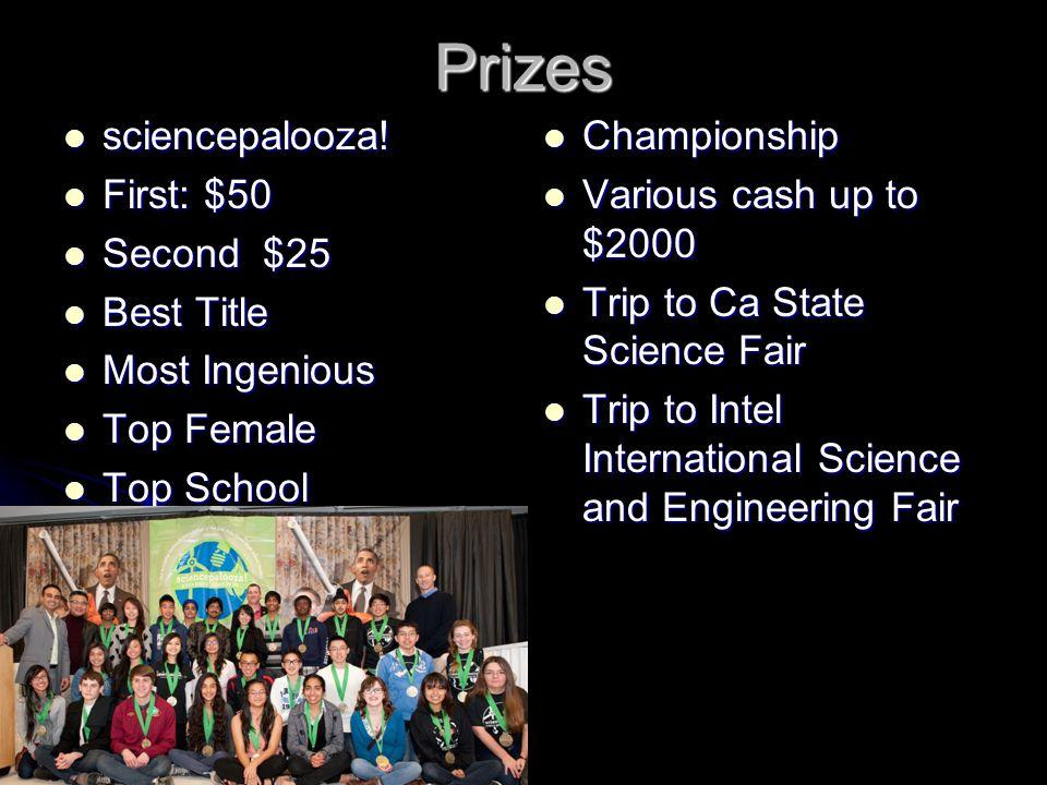 Prizes sciencepalooza. sciencepalooza.