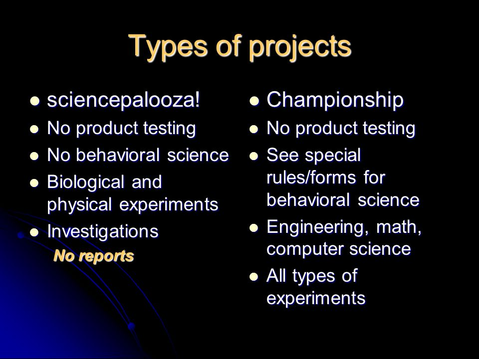 Types of projects sciencepalooza. sciencepalooza.
