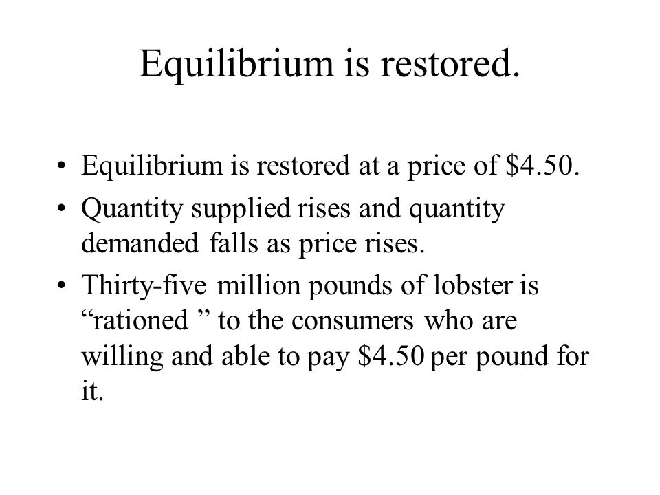Equilibrium is restored. Equilibrium is restored at a price of $4.50. Quantity supplied rises and quantity demanded falls as price rises. Thirty-five