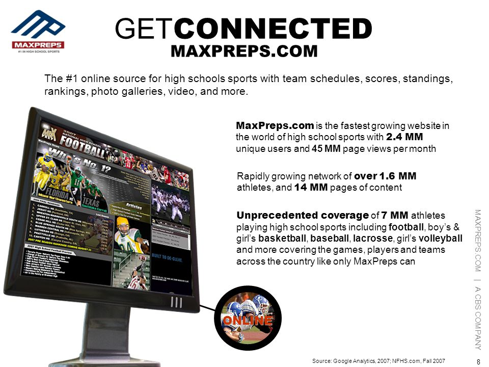 MAXPREPS.COM | A CBS COMPANY 8 ONLINE Rapidly growing network of over 1.6 MM athletes, and 14 MM pages of content MaxPreps.com is the fastest growing website in the world of high school sports with 2.4 MM unique users and 45 MM page views per month The #1 online source for high schools sports with team schedules, scores, standings, rankings, photo galleries, video, and more.