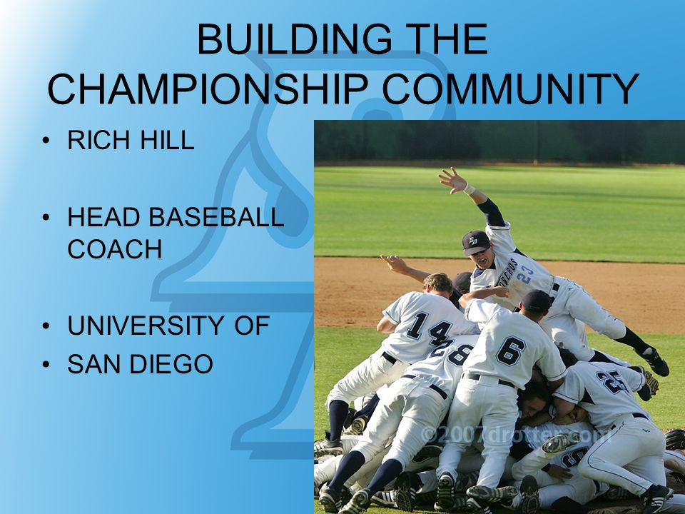 BUILDING THE CHAMPIONSHIP COMMUNITY RICH HILL HEAD BASEBALL COACH UNIVERSITY OF SAN DIEGO