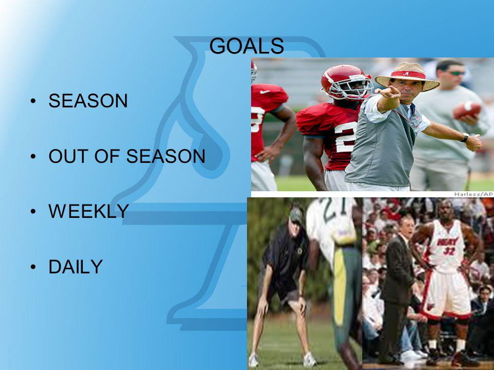 GOALS SEASON OUT OF SEASON WEEKLY DAILY