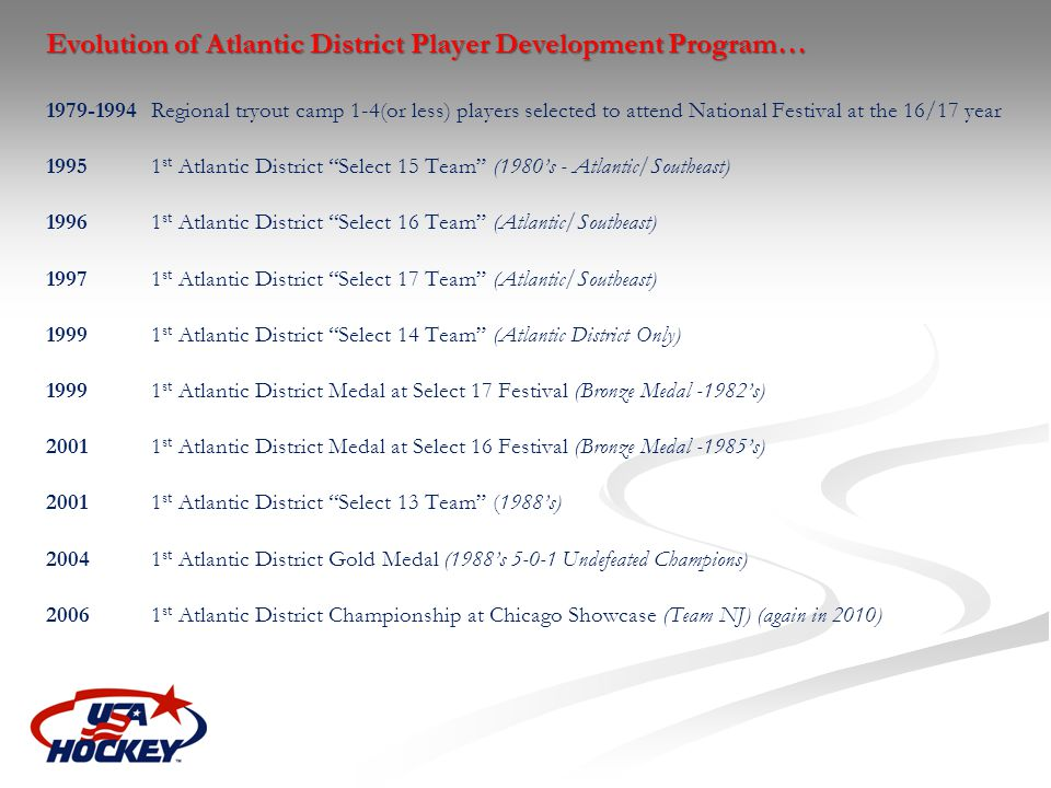 Evolution of Atlantic District Player Development Program… 1979-1994 Regional tryout camp 1-4(or less) players selected to attend National Festival at