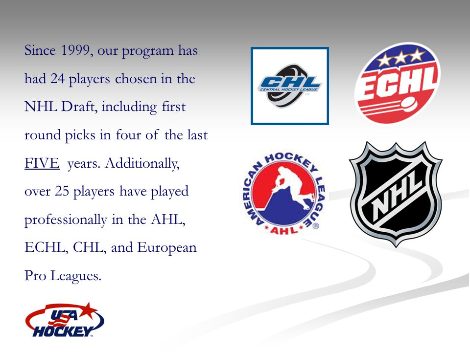 Since 1999, our program has had 24 players chosen in the NHL Draft, including first round picks in four of the last FIVE years. Additionally, over 25