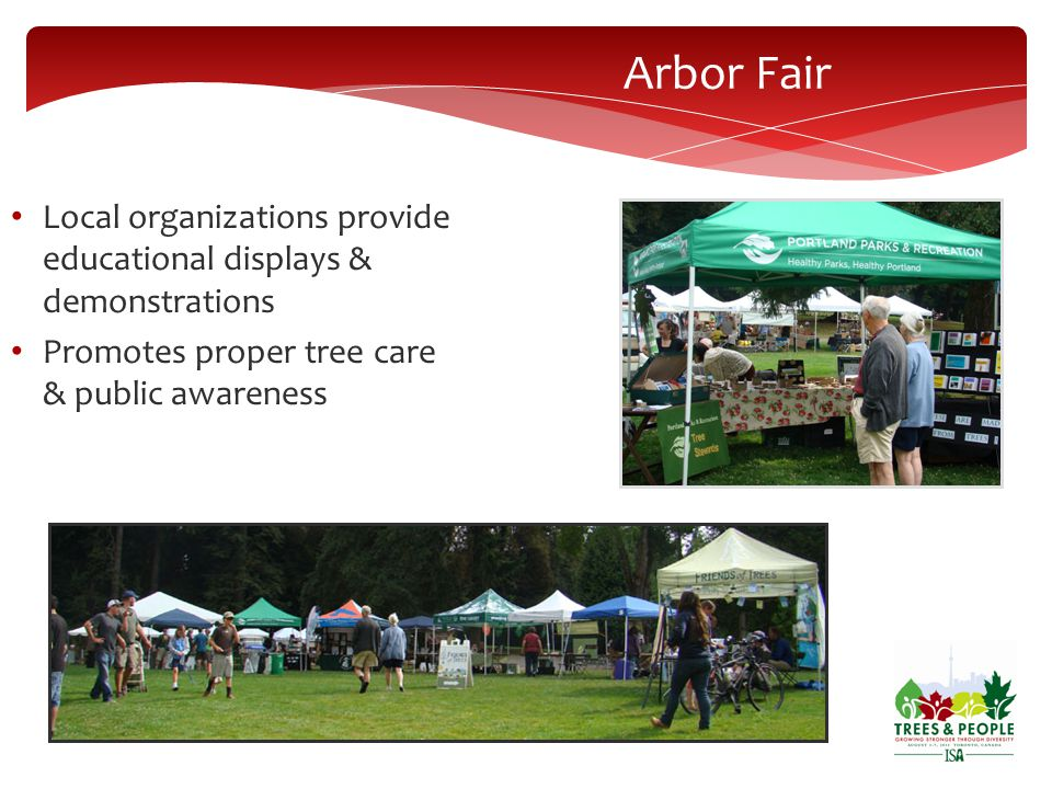 Arbor Fair Local organizations provide educational displays & demonstrations Promotes proper tree care & public awareness