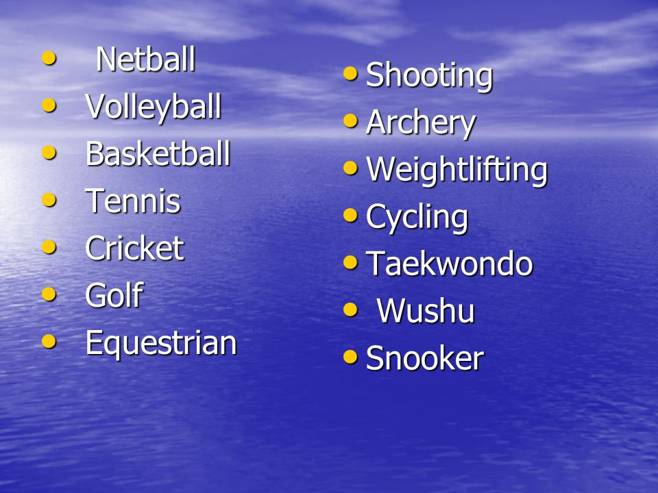 Netball Netball Volleyball Volleyball Basketball Basketball Tennis Tennis Cricket Cricket Golf Golf Equestrian Equestrian Shooting Shooting Archery Ar