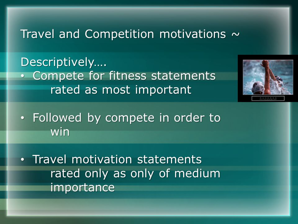 Travel and Competition motivations ~ Descriptively….