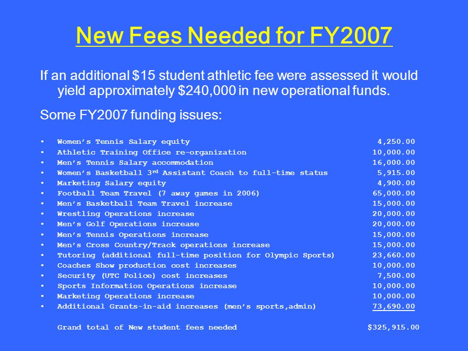 New Fees Needed for FY2007 If an additional $15 student athletic fee were assessed it would yield approximately $240,000 in new operational funds.