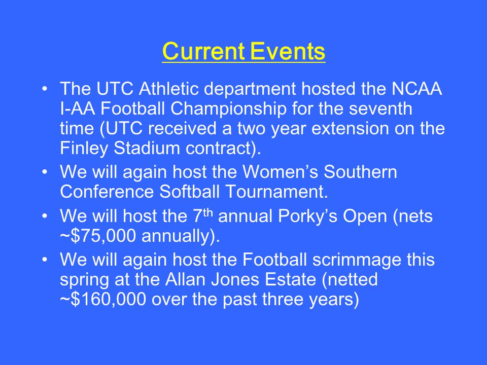 Current Events The UTC Athletic department hosted the NCAA I-AA Football Championship for the seventh time (UTC received a two year extension on the Finley Stadium contract).