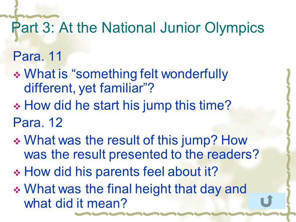 Part 3: At the National Junior Olympics Para.