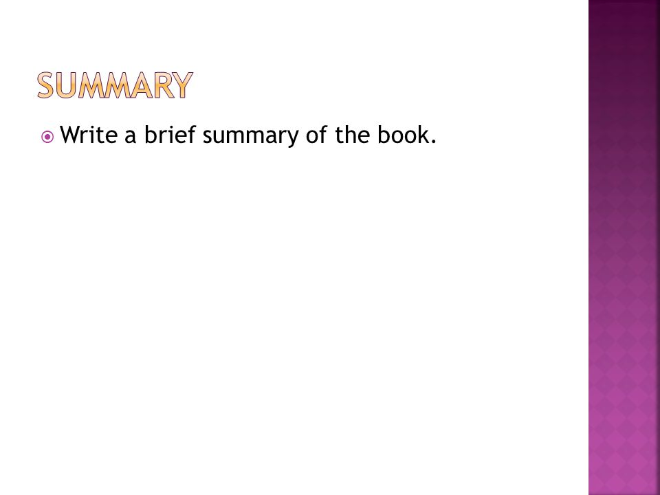 Write a brief summary of the book.