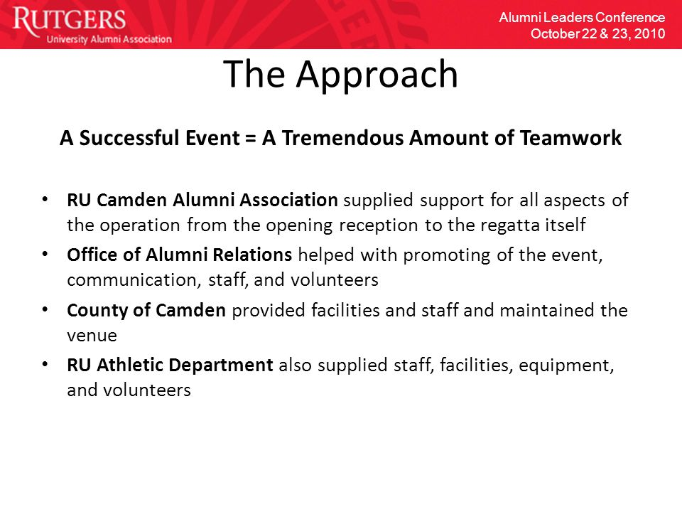 The Approach A Successful Event = A Tremendous Amount of Teamwork RU Camden Alumni Association supplied support for all aspects of the operation from the opening reception to the regatta itself Office of Alumni Relations helped with promoting of the event, communication, staff, and volunteers County of Camden provided facilities and staff and maintained the venue RU Athletic Department also supplied staff, facilities, equipment, and volunteers Alumni Leaders Conference October 22 & 23, 2010