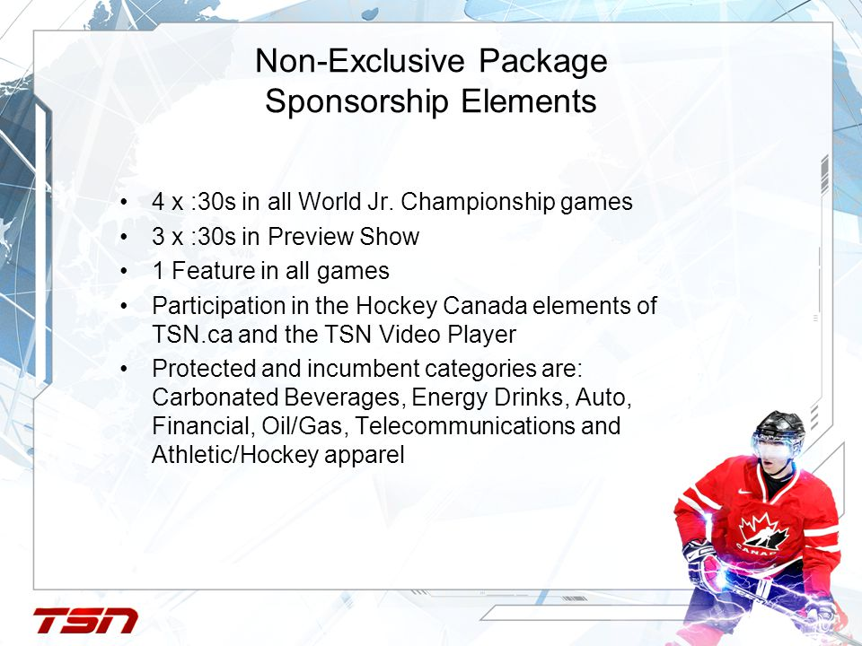 Non-Exclusive Package Sponsorship Elements 4 x :30s in all World Jr.