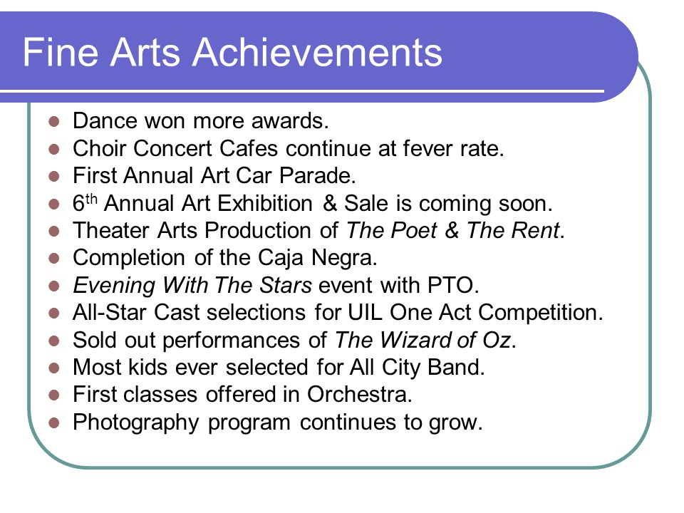 Fine Arts Achievements Dance won more awards. Choir Concert Cafes continue at fever rate.