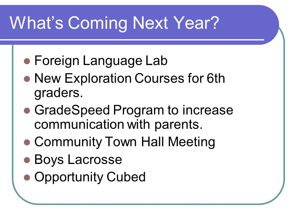 Whats Coming Next Year? Foreign Language Lab New Exploration Courses for 6th graders. GradeSpeed Program to increase communication with parents. Commu