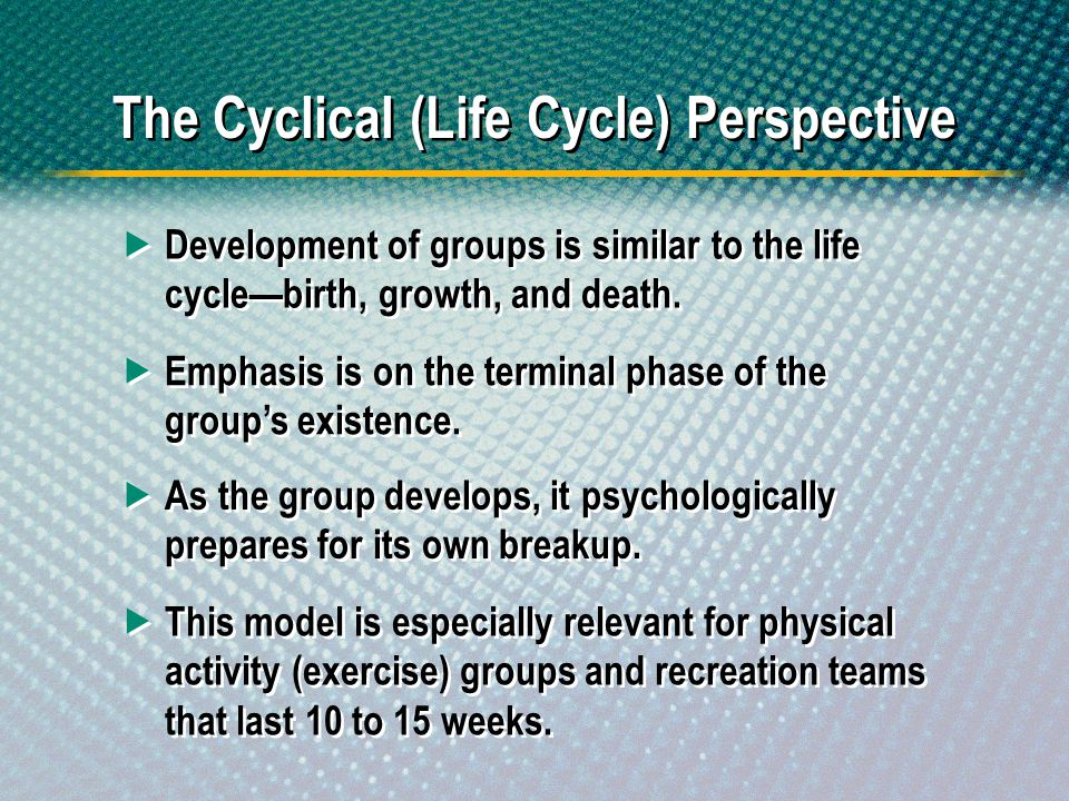 Development of groups is similar to the life cyclebirth, growth, and death. Emphasis is on the terminal phase of the groups existence. As the group de