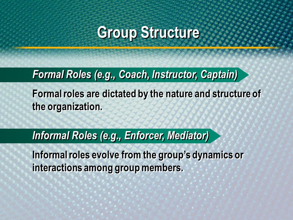 Group Structure Formal roles are dictated by the nature and structure of the organization. Formal Roles (e.g., Coach, Instructor, Captain) Informal ro