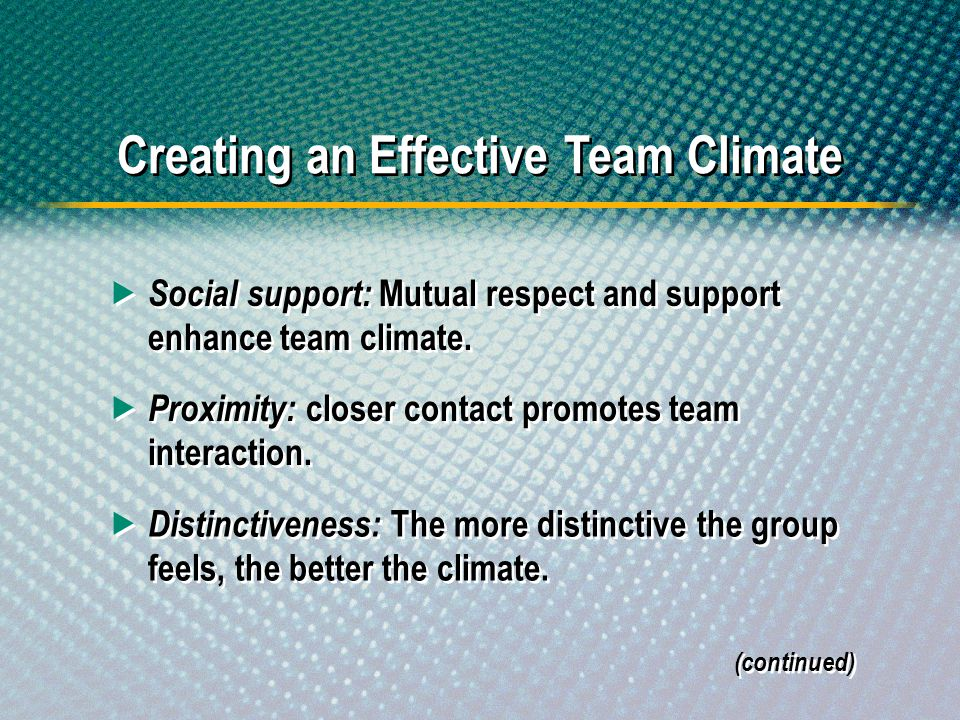 Social support: Mutual respect and support enhance team climate. Proximity: closer contact promotes team interaction. Distinctiveness: The more distin