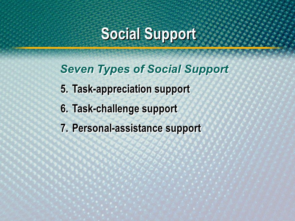 Social Support 5.Task-appreciation support 6.Task-challenge support Seven Types of Social Support 7.Personal-assistance support