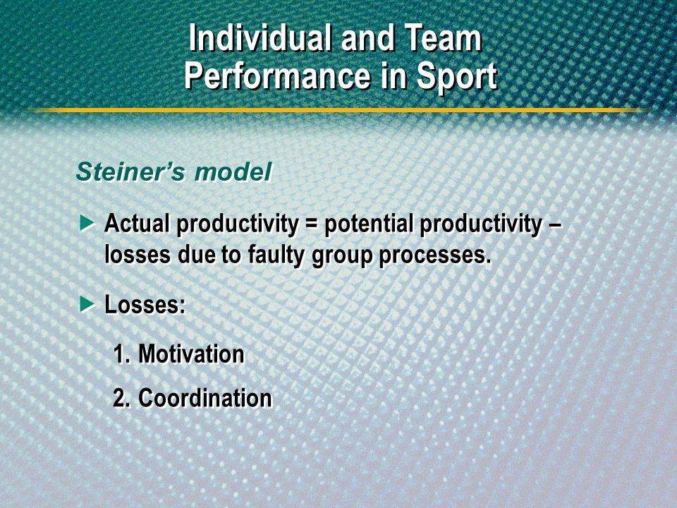 Steiners model Individual and Team Performance in Sport Actual productivity = potential productivity – losses due to faulty group processes. Losses: 1