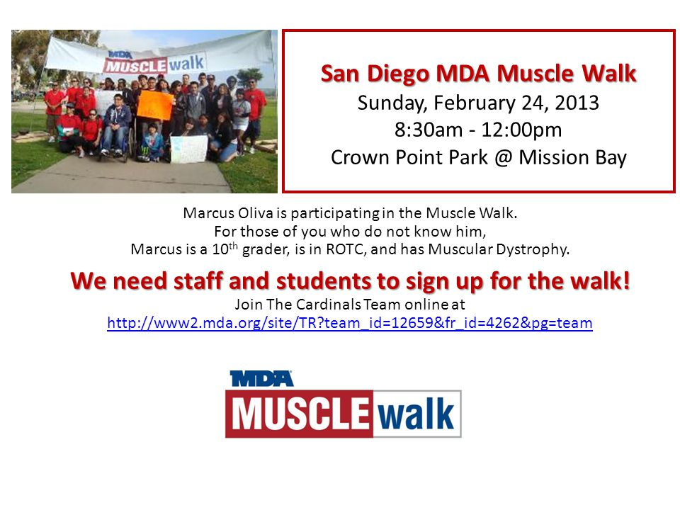 Marcus Oliva is participating in the Muscle Walk.