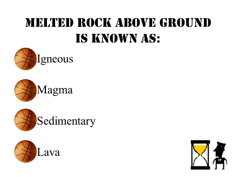 Melted rock ABOVE ground is known as: Igneous Magma Sedimentary Lava