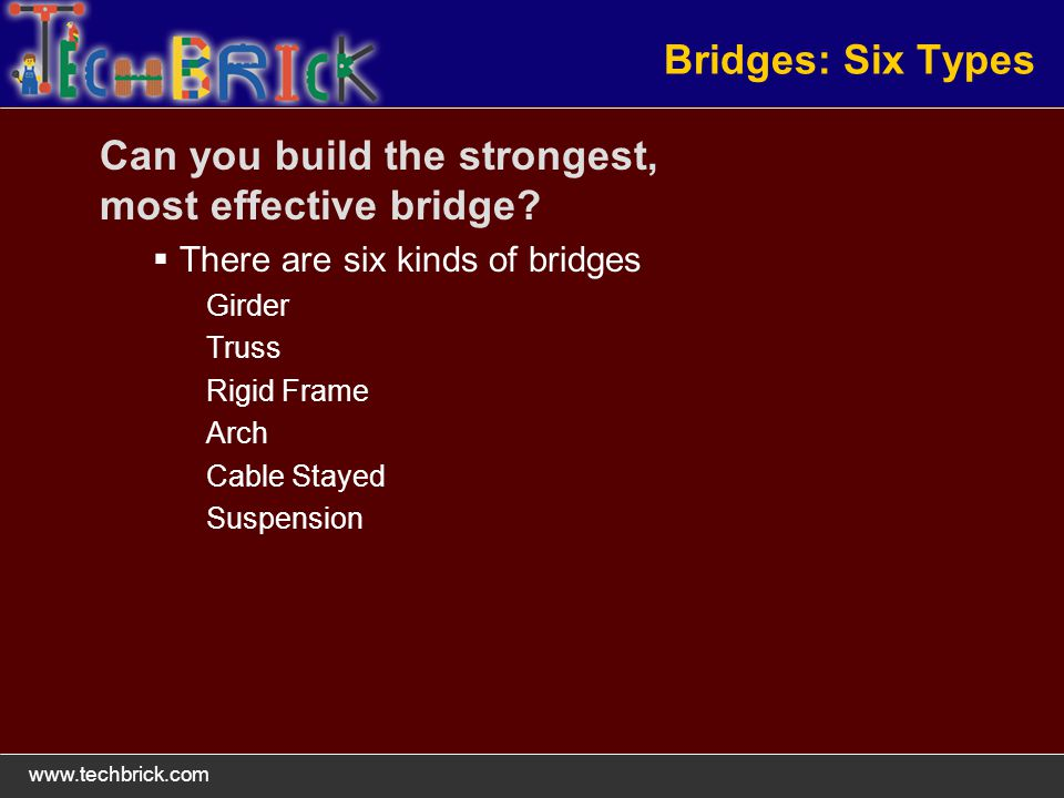 Bridges: Six Types Can you build the strongest, most effective bridge.