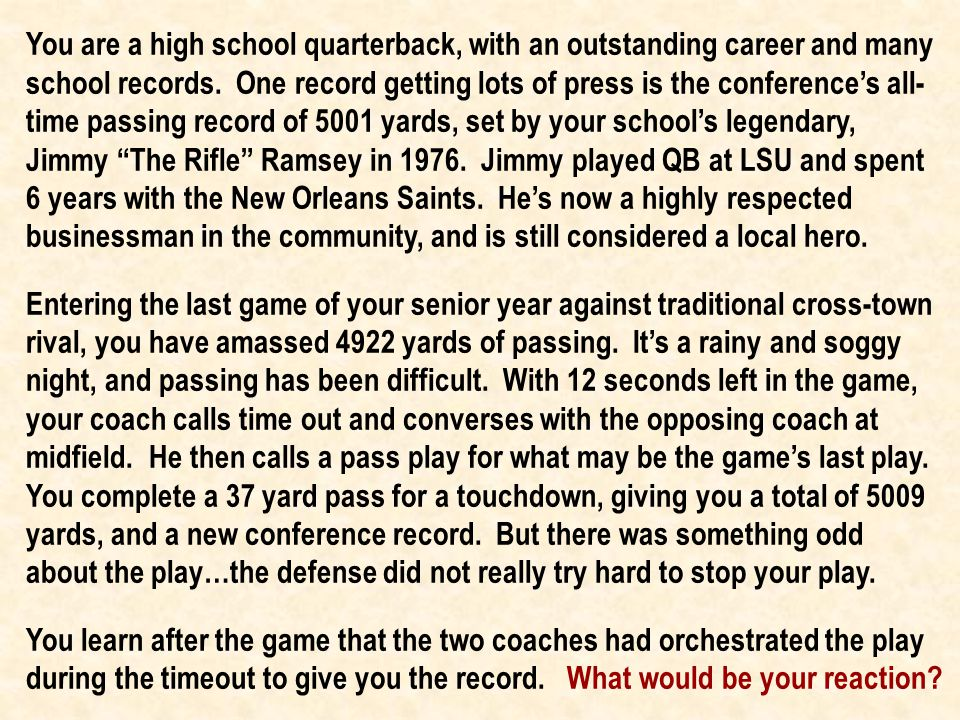 You are a high school quarterback, with an outstanding career and many school records.