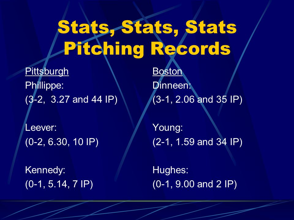 Stats, Stats, Stats Pittsburgh Kitty Bransfield:.207 Claude Ritchey:.111 Honus Wagner:.222 Tommy Leach:.273 Fred Clarke:.265 Ginger Beaumont:.265 Jimmy Sebring:.367 Ed Phelps:.231 Boston Candy LaChance:.222 Hobe Ferris:.290 Freddy Parent:.281 Jimmie Collins:.250 Patsy Dougherty:.235 Chick Stahl:.303 Buck Freeman:.281 Lou Criger:.231