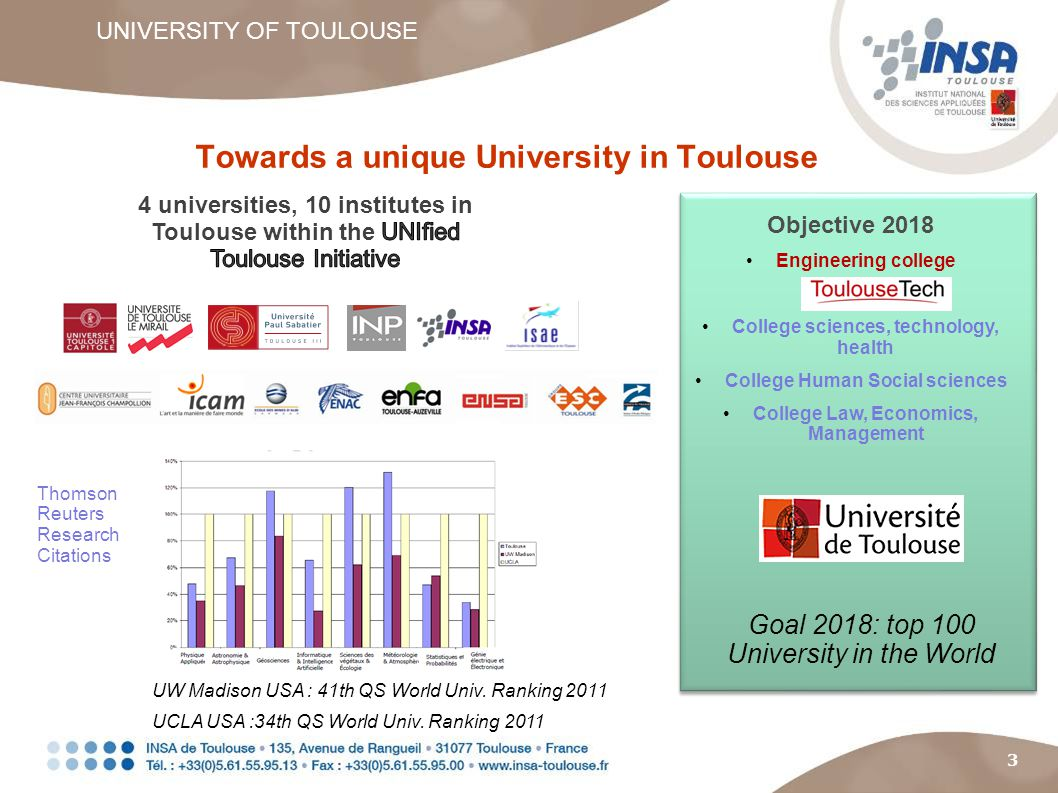 3 Towards a unique University in Toulouse UNIVERSITY OF TOULOUSE Objective 2018 Engineering college College sciences, technology, health College Human Social sciences College Law, Economics, Management UCLA USA :34th QS World Univ.